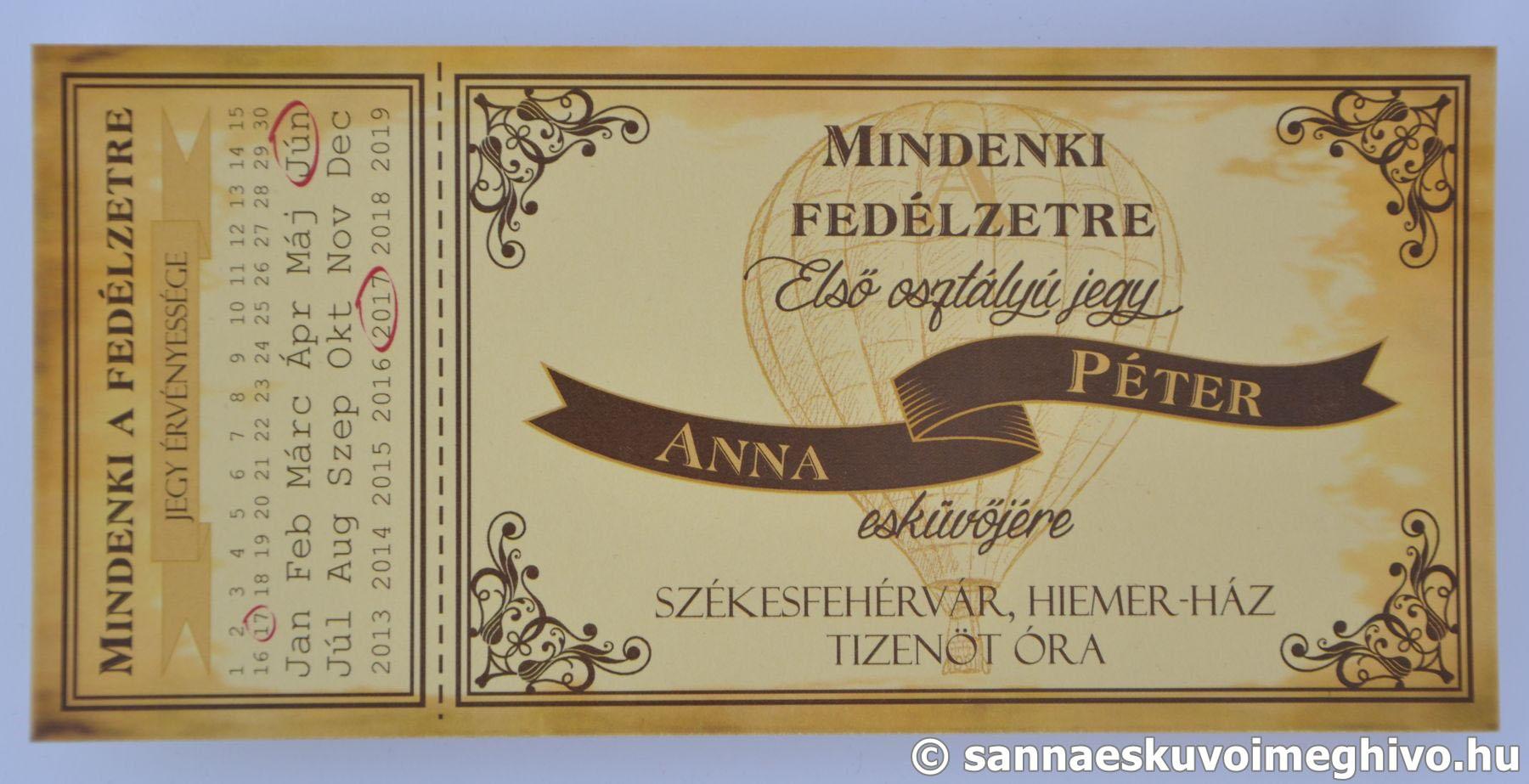 d6e030789b Hőlégballon esküvői meghívó - Sanna Design