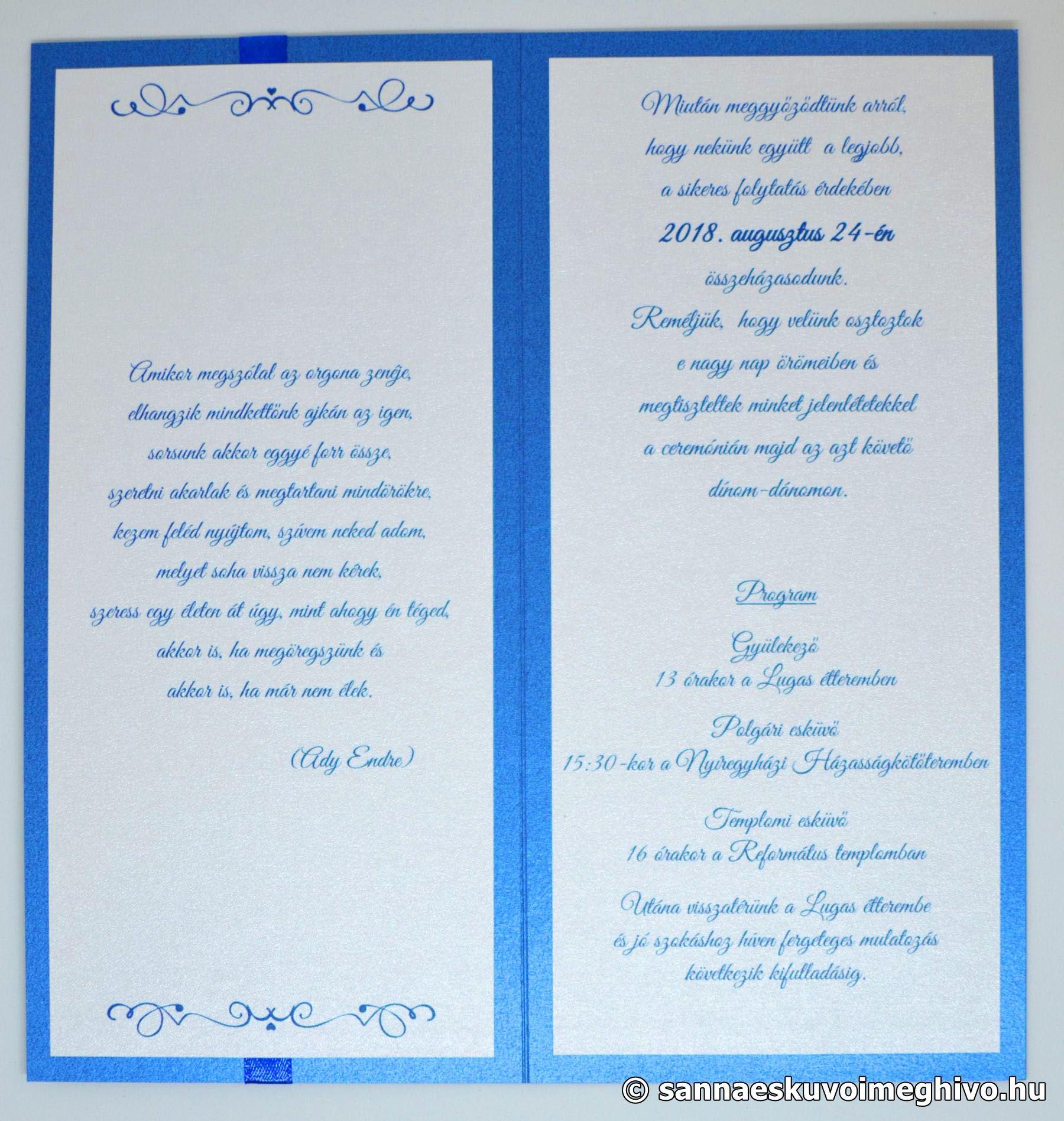 5590d9a4c3 Kék medence esküvői meghívó 1 - Sanna Esküvői Meghívó