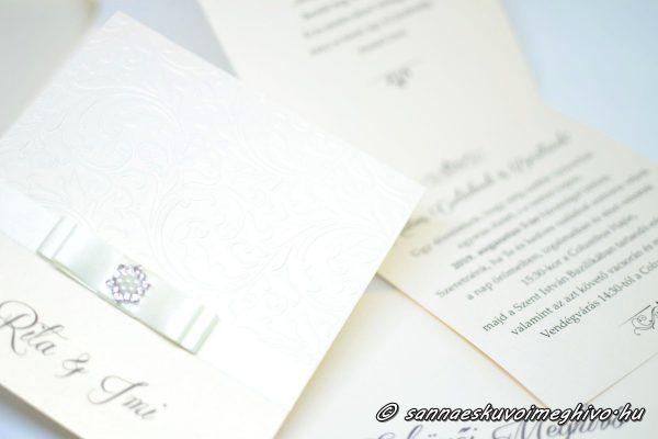 Ekrü csillogás4 esküvői meghívó